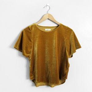 MADEWELL Yellow Velvet Butterfly Short Sleeve Top